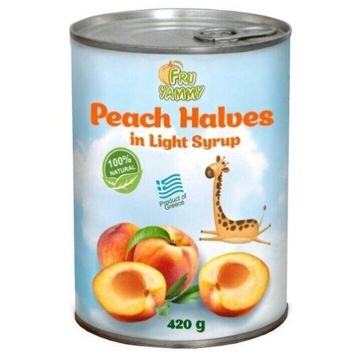 Персики Fru Yammy половинки в сиропе 420 г фруктовые консервы del monte фруктовый коктейль в сиропе 420 г