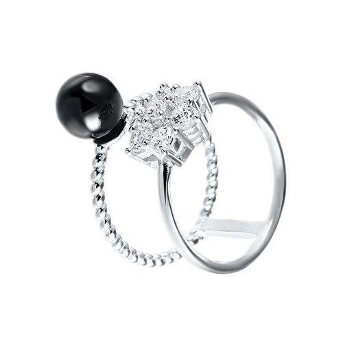 JV Кольцо с керамикой и фианитами из серебра SR1672-KO-001-WG, размер 18 jv кольцо с фианитами из серебра dm2370r ko 001 wg размер 18