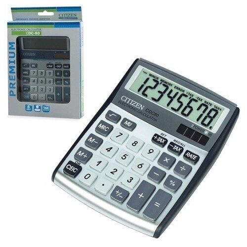 Калькулятор Citizen настольный, 8 разрядов, двойное питание, 135x108 мм (CDC-80WB)
