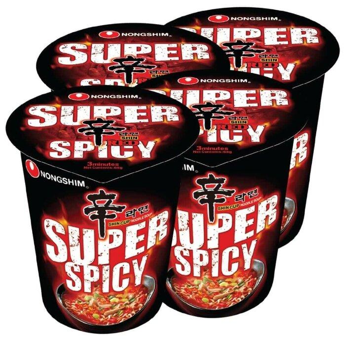 Купить Лапша быстрого приготовления Шин Рэд Супер острая Nongshim, стакан 68 г х 4 шт по низкой цене с доставкой из Яндекс.Маркета (бывший Беру)