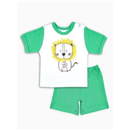 Комплект одежды Веселый Малыш размер 74, белый/зеленый пижама веселый малыш размер 74 зеленый