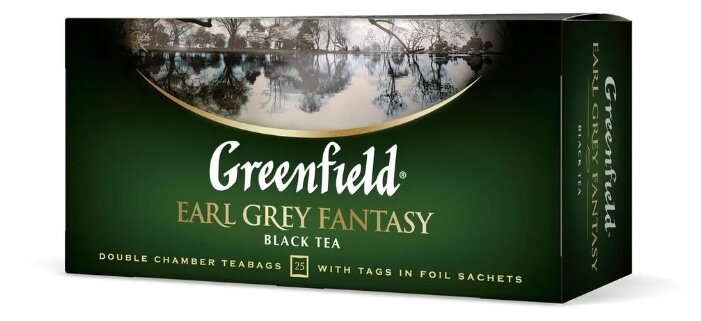 Чай greenfield earl grey fantasy с бергамотом 1,5гр.25шт.
