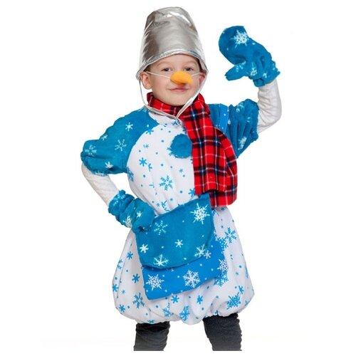 Костюм КарнавалOFF Сказочный теремок Снеговик Почтовик (8035), белый/синий/красный, размер 98-128