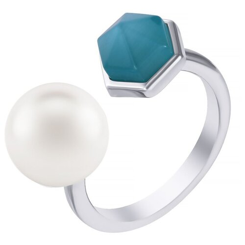 JV Кольцо с жемчугом и стеклом из серебра SR1844-KO-WP-US-001-WG, размер 16 фото