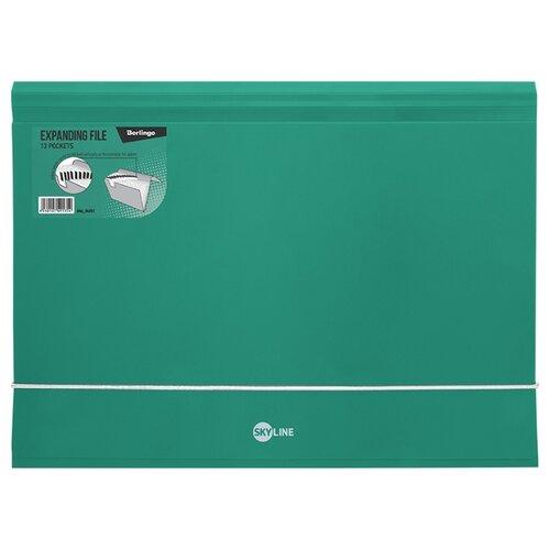 Купить Berlingo Папка на резинке Skyline А4, 13 отделений, пластик зелeный, Файлы и папки