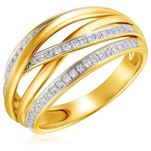 Бронницкий Ювелир Кольцо из желтого золота мзS266DWA4, размер 17.5