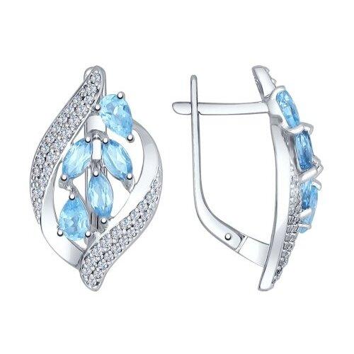 SOKOLOV Серьги из серебра с голубыми топазами и фианитами 92021509