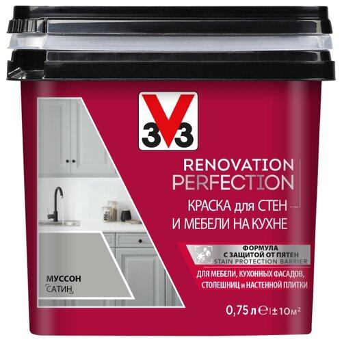 Краска акриловая V33 Renovation Perfection для стен и мебели на кухне влагостойкая моющаяся полуматовая муссон 0.75 л