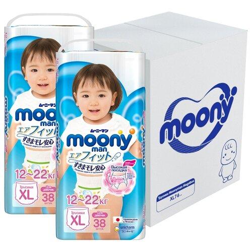 Купить Moony трусики Man для девочек XL (12-22 кг) 76 шт., Подгузники