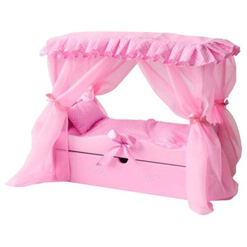PAREMO Кровать с выдвижным ящиком для кукол с постельным бельем и балдахином (PFD120-60) розовый кровать с выдвижным ящиком paremo кровать с выдвижным ящиком