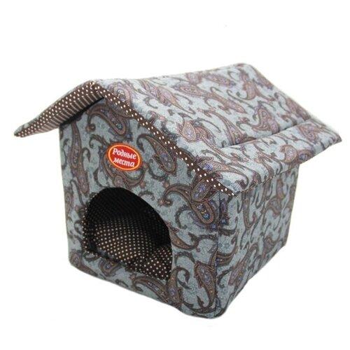 Домик для собак и кошек Родные места Теремок №1 Огурцы 32х33х16 см серый