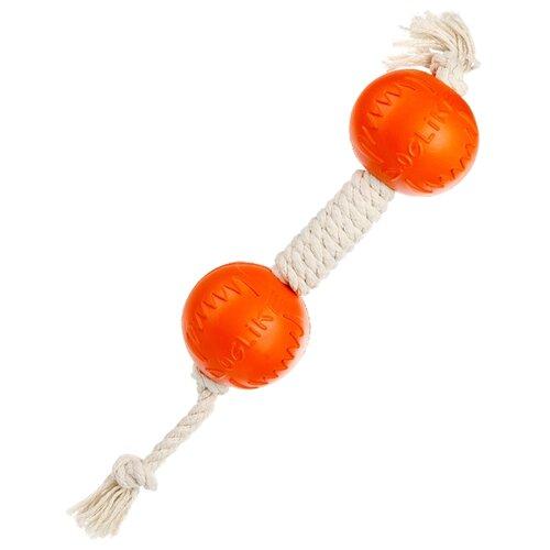 Фото - Гантель для собак Doglike Dental Knot канатная большая (D-2368) белый/оранжевый игрушка для собак doglike шинка гига оранжевый
