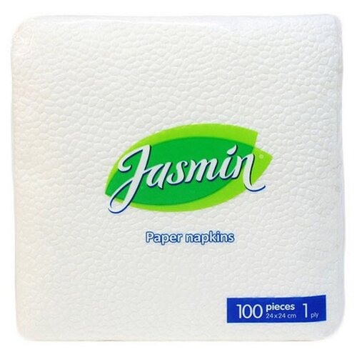 Салфетки Jasmin 1 слой, 24х24 белые 100 шт/уп, 6 уп jasmin siri spd revoluzzer lampenputzer