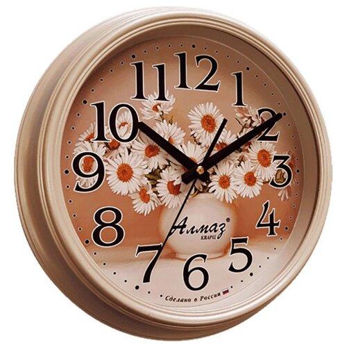 Часы настенные кварцевые Алмаз A47 бежевый часы настенные кварцевые алмаз p34 бежевый белый