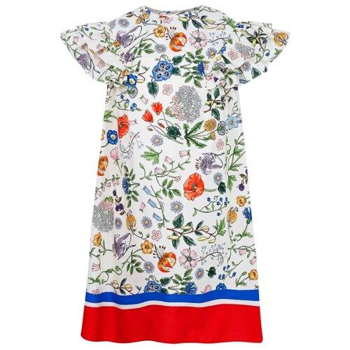 Платье GUCCI размер 116, кремовый/цветочный принт