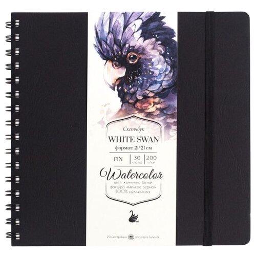 Купить Скетчбук для акварели Малевичъ White Swan 21 х 21 см, 200 г/м², 30 л. черный, Альбомы для рисования