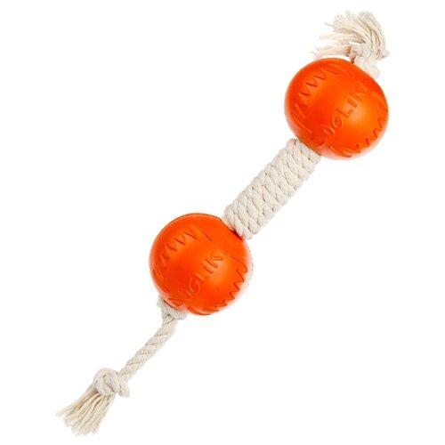 Фото - Гантель для собак Doglike Dental Knot канатная средняя (D-2369) белый/оранжевый игрушка для собак doglike шинка гига оранжевый