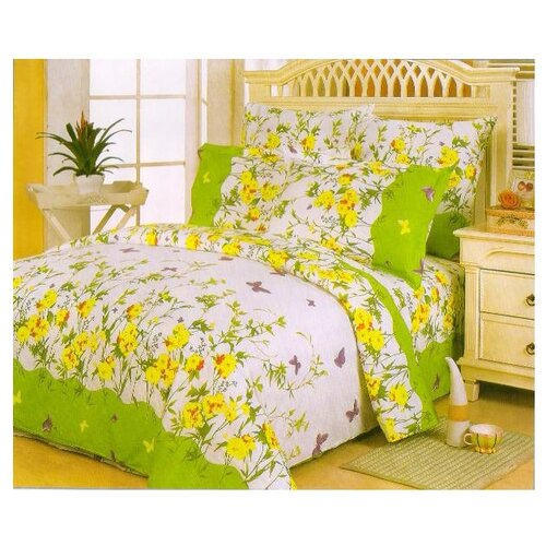 Постельное белье евростандарт СайлиД A-63(1), поплин зеленый постельное белье сайлид а97 1 двуспальное