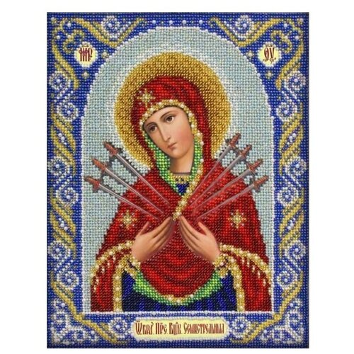 Купить Паутинка Набор для вышивания бисером Пресвятая Богородица Семистрельная 20 x 25 см (Б1026), Наборы для вышивания