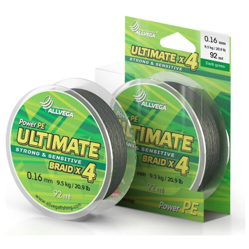 Плетеный шнур ALLVEGA ULTIMATE dark green 0.16 мм 92 м 9.5 кг