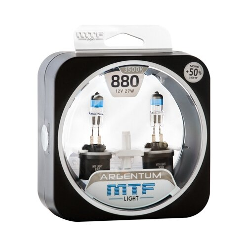 Лампа автомобильная галогенная MTF Argentum +50% H5A1280 Н27(880) 12V 27W 2 шт. лампа автомобильная галогенная celen hod crystal 50