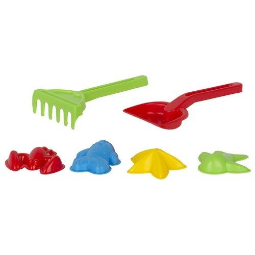 Купить Игра Стром Детский песочный набор 6 предметов (формы для песка 4 штуки, совок, грабли) красный, желтый, зеленый, синий, СТРОМ, Наборы в песочницу