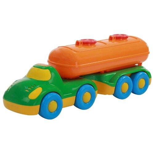 Купить Автоцистерна Полесье с полуприцепом-цистерной Дружок (48493) 42 см зеленый/оранжевый, Машинки и техника
