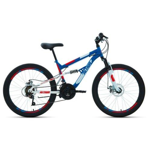 """Подростковый горный (MTB) велосипед ALTAIR MTB FS 24 Disc (2020) синий/красный 14.5"""" (требует финальной сборки)"""