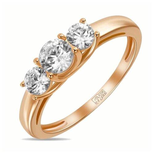 ЛУКАС Кольцо с 3 фианитами из красного золота R01-Z-59230-Z, размер 18.5
