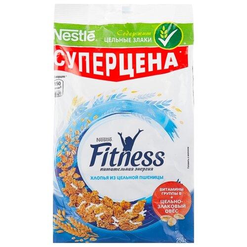 Готовый завтрак Nestle Fitness хлопья из цельной пшеницы, пакет, 250 г nestle fitness хлопья с темным шоколадом готовый завтрак 275 г