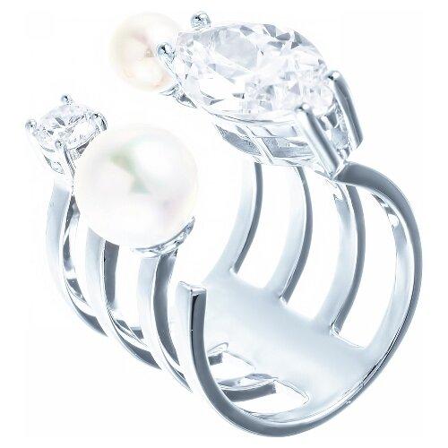 JV Кольцо с жемчугом и фианитами из серебра OL01367D-KO-WM-001-WG, размер 16 jv кольцо с фианитами из серебра r27208 ko 001 wg размер 16