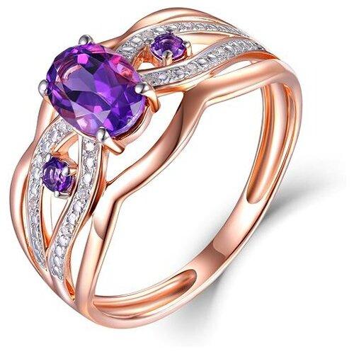 ЛУКАС Кольцо с аметистами и бриллиантами из красного золота R01-D-70644R002-R17, размер 17.5 бронницкий ювелир брошь из красного золота h01 d hru1105aru r17