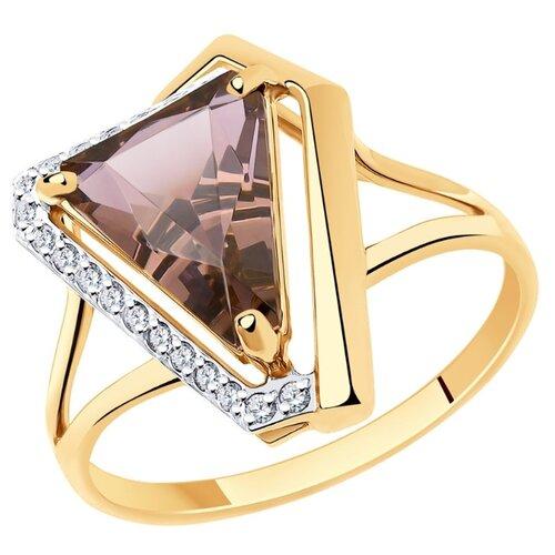 SOKOLOV Кольцо из золота с ситалом синтетическим и фианитами 716039, размер 18 по цене 23 990