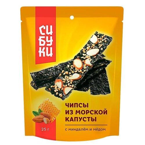Чипсы Сибуки из морской капусты с миндалем и медом, 25 г