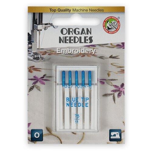 Игла/иглы Organ Embroidery синий/серебристый