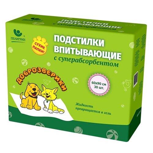 Пеленки для собак впитывающие Доброзверики Сухие лапки 60х90 см 30 шт.