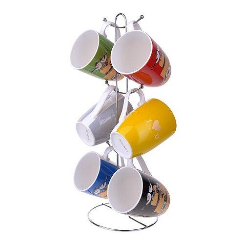 Loraine Набор кружек 6 шт 350 мл желтый/черный/красный/зеленый/синий по цене 1 216