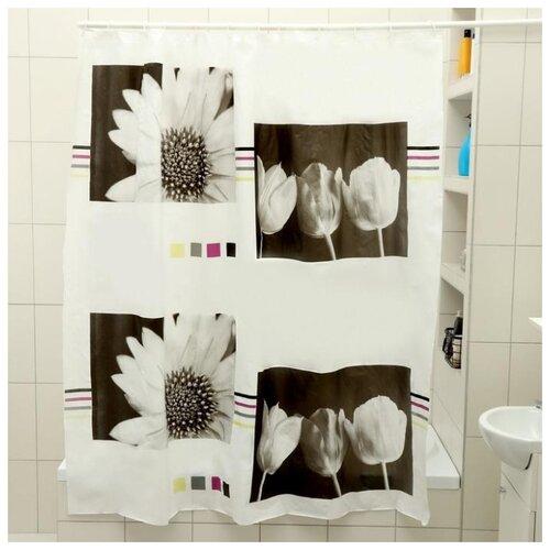 Штора для ванной Доляна Белые цыеты 180x180 белые цветы