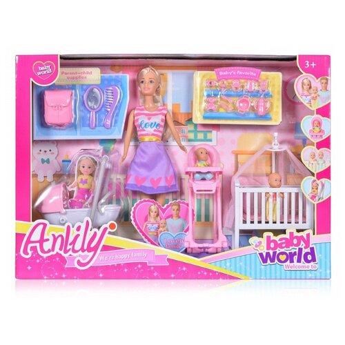 Купить Набор Shantou Gepai Anlily Детская комната с куклой и малышами, 99204, Куклы и пупсы