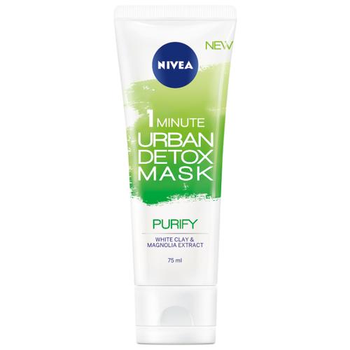 Nivea маска Urban Detox детокс и очищение пор за 1 минуту с белой глиной и экстрактом магнолии, 75 мл nivea маска увлажнение и детокс urban detox за 1 минуту 75 мл
