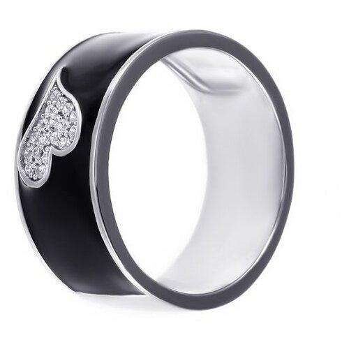 JV Кольцо с эмалью и фианитами из серебра ML12521A-KO-ENAM-001-WG, размер 17