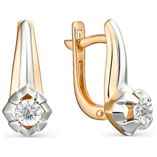 АЛЬКОР Серьги с 2 бриллиантами из красного золота 23005-100