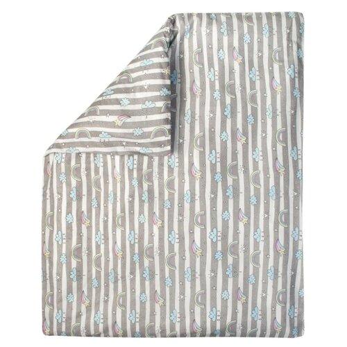 Купить Amarobaby пододеяльник Радуга (бязь) 147х112 см белый/серый, Постельное белье и комплекты