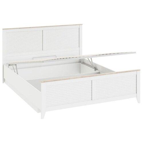 Кровать ТриЯ Ривьера двуспальная с подъемным механизмом, размер (ДхШ): 207х168.2 см, спальное место (ДхШ): 200х160 см, каркас: ЛДСП, цвет: Дуб Бонифацио/Белый