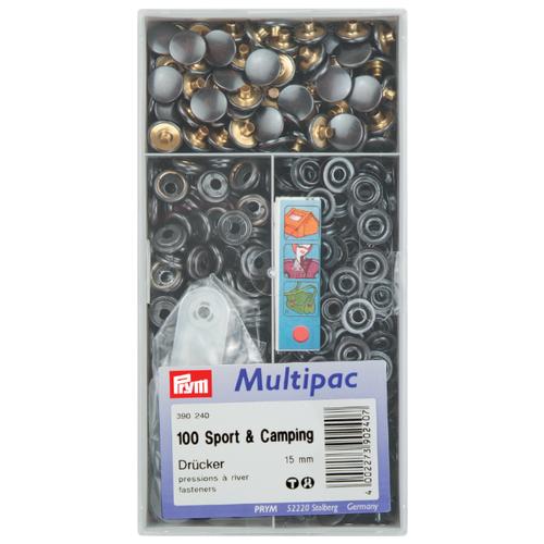 Prym Кнопки непришивные Спорт и кемпинг (390240, 390241), черный, 15 мм, 100 шт.