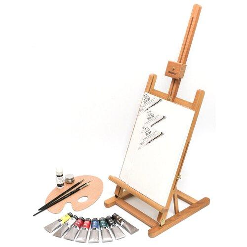 Купить Мольберт Малевичъ МЛ-57 в стартовом наборе для живописи маслом (830210) коричневый, Доски и мольберты