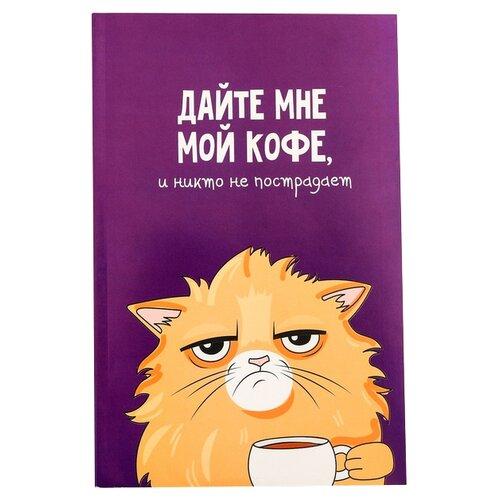 Ежедневник ArtFox Кот с кофеечком 3977663 недатированный, А5, 64 листов, фиолетовый ежедневник artfox ll la la llama 4336344 недатированный а5 64 листов черный синий