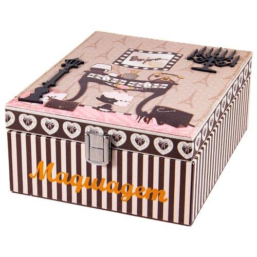 Шкатулка Русские подарки для рукоделия 84329 18x23x10 см бежевый коллаж ключница 15х7х25 см русские подарки