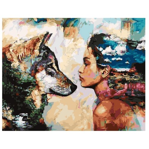 Купить ВанГогВоМне Картина по номерам Девушка и волк , 40х50 см (ZX 20878), Картины по номерам и контурам
