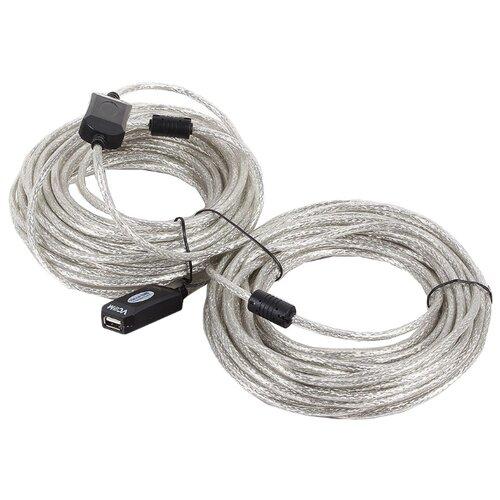 Удлинитель VCOM USB - USB (VUS7049) 20 м серебристый